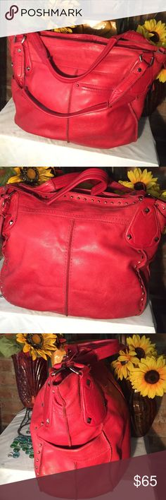 B. Makowsky Leather Bag Sz 18x6x14- Good condition- No damage- Bright red- (2) 10' straps- Accented gold studs- Genuine leather- Leopard interior- Clean interior- Very roomy- Very nice! b. makowsky Bags Shoulder Bags
