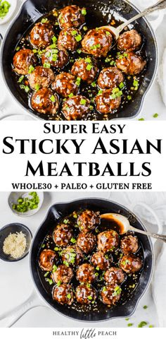 Who needs take out when you can make these delicious Sticky Asian Meatballs with an Asian sauce topped with green onions and sesame seeds. This dish is Keto, Paleo, Gluten-Free and Dairy-Free. Paleo Whole 30, Whole 30 Recipes, Asian Meatballs, Healthy Meatballs, Keto Meatballs, Whole 30 Meatballs, Gluten Free Meatballs, Great Appetizers, Gourmet