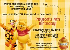 Winnie The Pooh Birthday Party Invitation Template