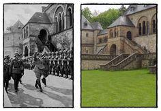 #AdolfHitler al di fuori del palazzo imperiale di #Goslar Bassa Sassonia, in Germania