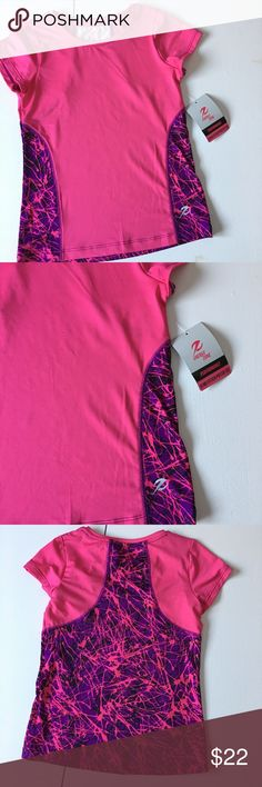 NWT Pink & Purple Pieced Workout Tee Brand new with attached tags. Available in girl's sizes XS, small & xl. PRICE FIRM Shirts & Tops Tees - Short Sleeve