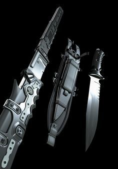 You're not bulletproof..., Jinroh Katana & Combat Knife (3D Rendered Concept)...