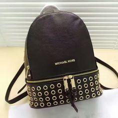 MICHAEL Michael Kors Rhea Grommet Leather Backpack Black