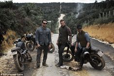 David Beckham: Into The Unknown | In one shot from the trip, David Beckham can be seen covered in mud alongside his travel companions. Sporting Triumph Scramblers and Biltwell Gringo helmets. Great choice.