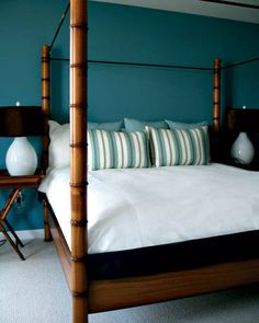 Turquoise room, bamboo canopy bed