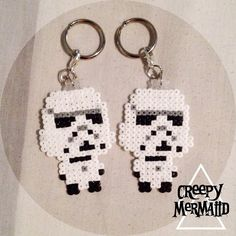 Stormtrooper keychains - Star Wars perler beads by creepymermaiid
