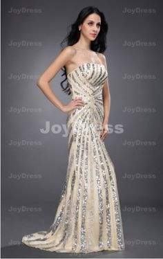 Sequin A-line Strapless Floor-length Dress