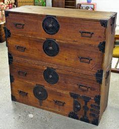 fl40 - japanese furniture - antique nihonmatsu clothing chest