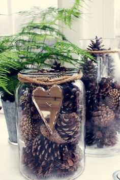 Pinecones in a jar.