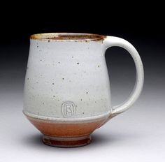 Ray Morales | Wheel-thrown, tall 15oz., stoneware tea mug, with satin white & orange Shino glazes (fired to ^10/2350 F in a gas kiln).