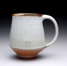 Ray Morales  |  Wheel-thrown, tall 15oz., stoneware tea mug, with satin white & orange Shino glazes (fired to ^10/2350 F in a gas kiln).