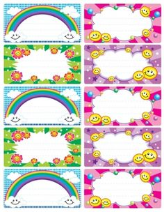 Preschool Smiley Faces and Rainbow Class Name Badges - Preschool Children Akctivitiys Printable Labels, Printables, School Name Labels, Class Labels, Cubby Tags, Preschool Names, Page Borders Design, School Frame, School Items