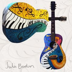 Julie Borden Custom Painted Acoustic Guitar