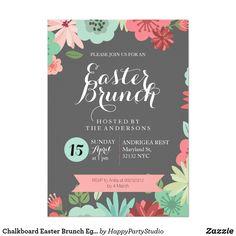 Chalkboard Easter Brunch Egghunt Invitation