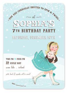 Pink Shoelace Blue Ice Skates Chalkboard Birthday Invitations