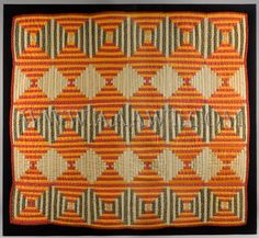Quilt, Crib Quilt, Mennonite, Circa 1860  Log Cabin Style/Courthouse Steps Pattern