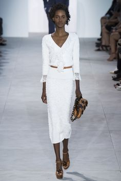 White dress with belt, love it! Michael Kors Collection Spring 2017 Ready-to-Wear Fashion Show - Tami Williams