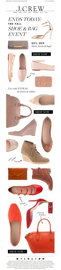 #newsletter J.Crew 09.2013 subject:  Ends today: the Fall Shoe & Bag Event