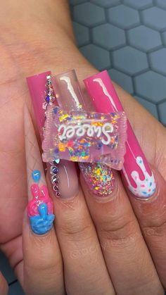 Acrylic Nail Set, Acrylic Nails Coffin Pink, Short Square Acrylic Nails, Cute Acrylic Nail Designs, Drip Nails, Kawaii Nails, Birthday Nails, Simple Nails, Swag Nails