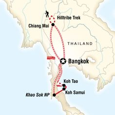 Experience the bustling streets of Bangkok, explore colourful Chiang Mai, trek to remote hilltribe villages, float down a river on a bamboo raft, enjoy the island beaches of Koh Samui and Koh Tao.