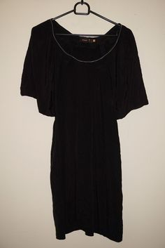 PIESZAK LITTLE BLACK DRESS SIZE 36 100% SILK ZIPPER ACCESSORY ON THE NECKLINE #PIESZAK #Shift #Casual