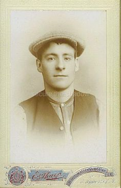 CDV Very Handsome Young Edwardian Working Class Man Cap Vest UK Gay Interest