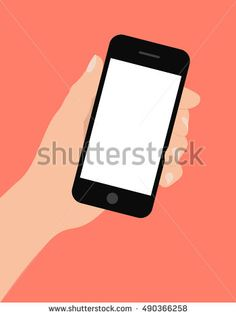 Hand holding smart phone on red background. Flat design vector illustration