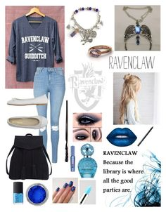 """""""Proud To Be A Ravenclaw"""" by themarveldemigod ❤ liked on Polyvore featuring Topshop, DIENNEG, Violeta by Mango, Lime Crime, Marc Jacobs, Benefit and NARS Cosmetics"""
