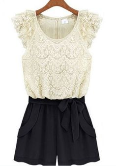 So CUTE! Love the bow! White Lace and Black Color Block Drawstring Waist Short Lace Jumpsuit #White #Lace #Spring #Summer #Jumpsuit #Fashion