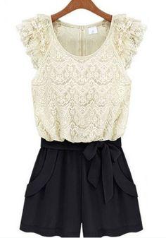 White Black Color Block Drawstring Waist Short Lace Jumpsuit beautiful