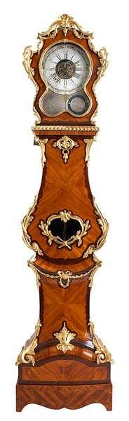 ADRIEN-JEROME JOLLAIN & JEAN-LOUIS BOUCHET (1737-1792) Régulateur de parquet d'époque Louis XV. Estampillé d'Adrien-Jerôme Jollain. En placage de bois de rose et d'amarante, ornementation de bronze ciselé… - Bernaerts - 14/09/2015