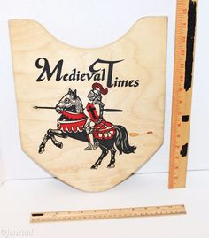 "MEDIEVAL TIMES RED KNIGHTS 11.25"" X 15"" WOODEN SHIELD PLYWOOD DESIGN WITH HANDLE"
