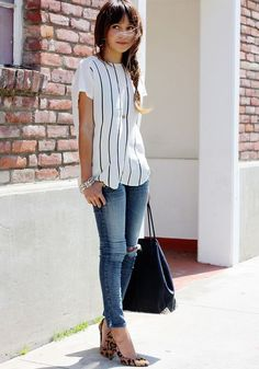 vertical stripes + jean + animal print