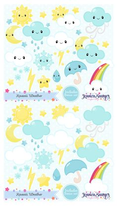Kawaii Weather Clipart and vectors for planner stickers, products, and crafts.