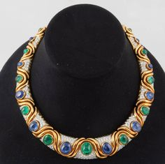 David Webb Emerald Sapphire Diamond Platinum Necklace | From a unique collection of vintage choker necklaces at https://www.1stdibs.com/jewelry/necklaces/choker-necklaces/