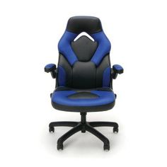 OFM Leather Racing Style Gaming Chair Blue/Black - ESS-3085-BLU