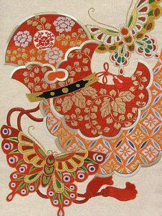 Obi #257099 Kimono Flea Market Ichiroya - stunning embroidery