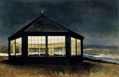 Andrew Wyeth 'Two if by Sea' 1995.  Round House, an octagonal building Wyeth constructed