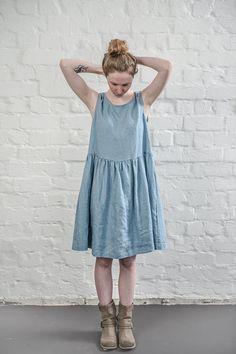 Linen dress. Swedish blue linen loose dress