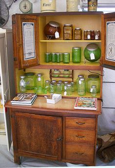 Hoosier Cabinet : lovingly teak oiled by my daughter ~ my desk ~ green depression glass