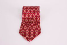 Paolo Gucci Mens Silk Neck Tie Red Gray Ring Link Design Made in Italy #PaoloGucci #NeckTie