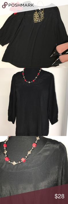 BR Black Top NWT Elegant for every occasion Black Blouse/Tunic. Pullover styling 3/4sleeves round neckline loose fit 28ins long. Banana Republic Tops Blouses