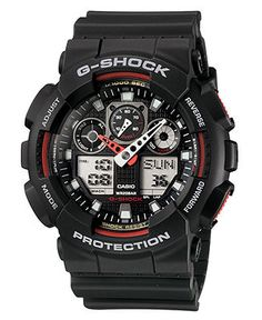 G-Shock Watch, Men's Analog Digital Black Resin Strap GA100-1A4 - Watches - Jewelry & Watches - Macy's