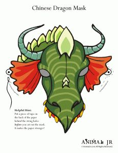 printable dragon mask 231x300 Chinese New Year Printable Craft: Dragon Animal Masks