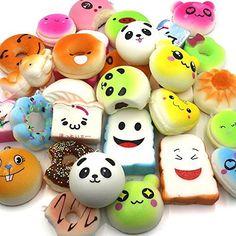WATINC Random 16 pcs include 15pcs 4-7cm and 1pcs 13cm Squishy Cream Scented Slow Rising Kawaii Simulation bread Lovely Toy Jumbo Medium Mini Soft squishies Cake/Panda/Bread/Buns