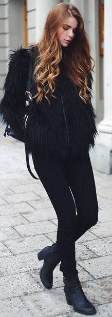 Josefin Ekstrom Black Faux Fur Jacket Fall Street Style Inspo