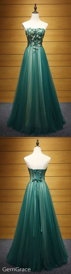 Dark green a-line long tulle prom evening dress