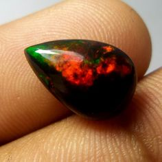 2.6 Carat 14.4x9.5 MM Natural Smoked Black Ethiopian Welo Fire Opal Pear Cab #Unbranded