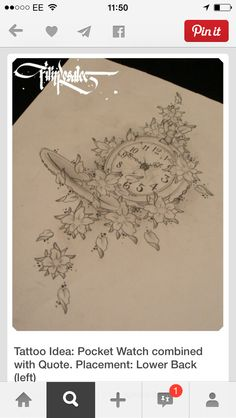 Clock, flowers tattoo