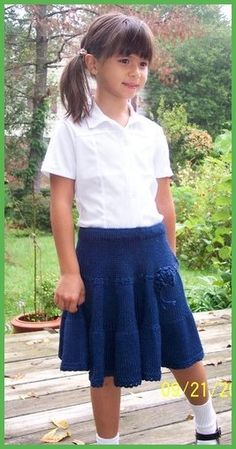 Girl twirly skirt in navy blue - knit your kid a school uniform